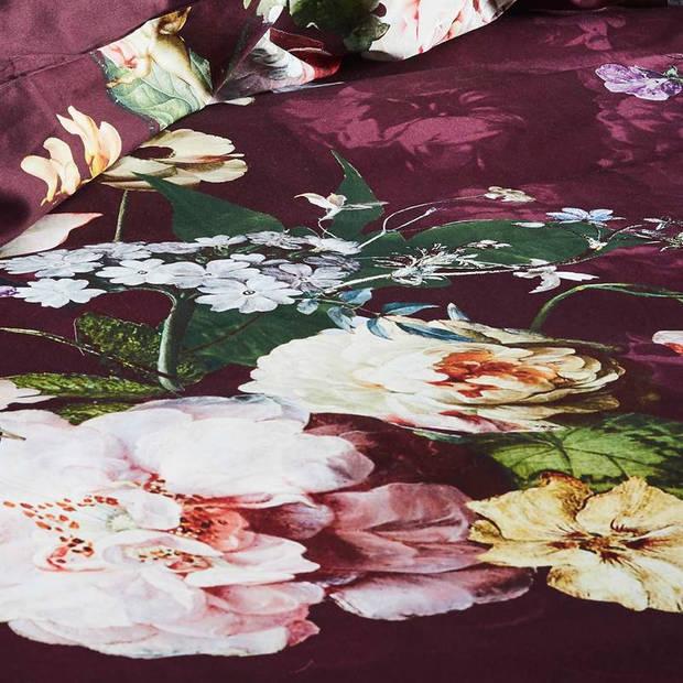 Essenza Fleur dekbedovertrek - 100% katoen-satijn - 2-persoons (200x200/220 cm + 2 slopen) - 2 stuks (60x70 cm) - Rood