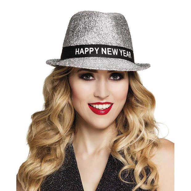 Boland hoed Sparkling 'Happy New Year' unisex zilver one size