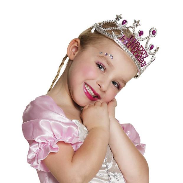 Boland kinderkroon Happy Birthday meisjes zilver one size