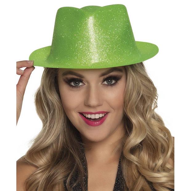 Boland hoed Sparkle unisex neongroen one size