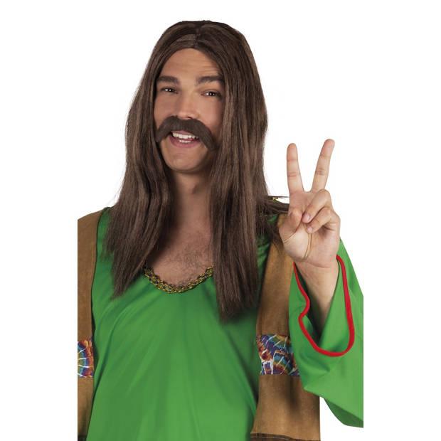 Boland snor Hippie heren bruin