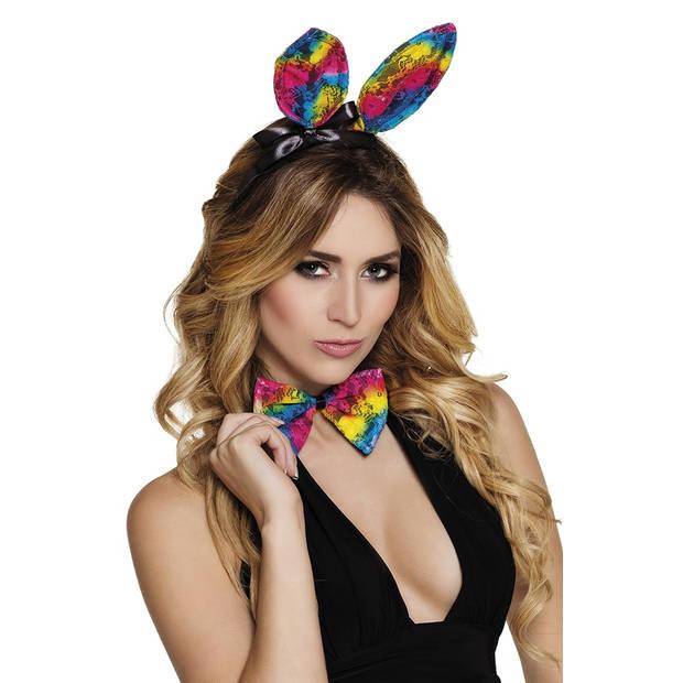Boland accessoiresset Regenboog Bunny dames one size