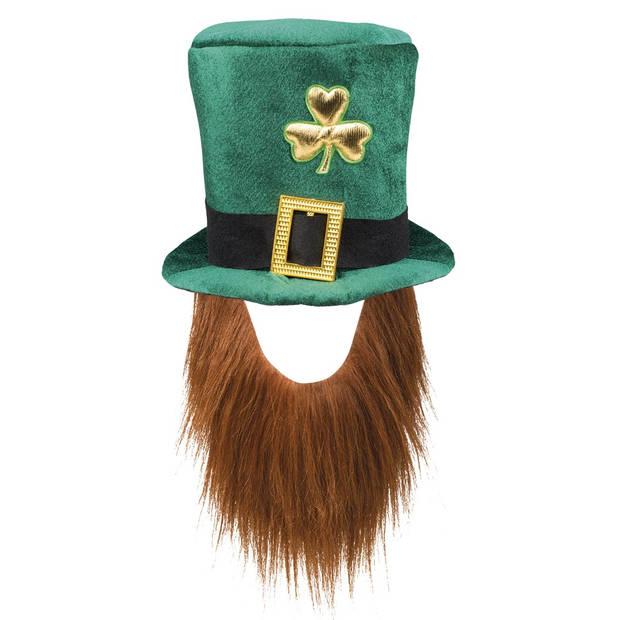 Boland hoed Leprechaun met baard heren groen one size