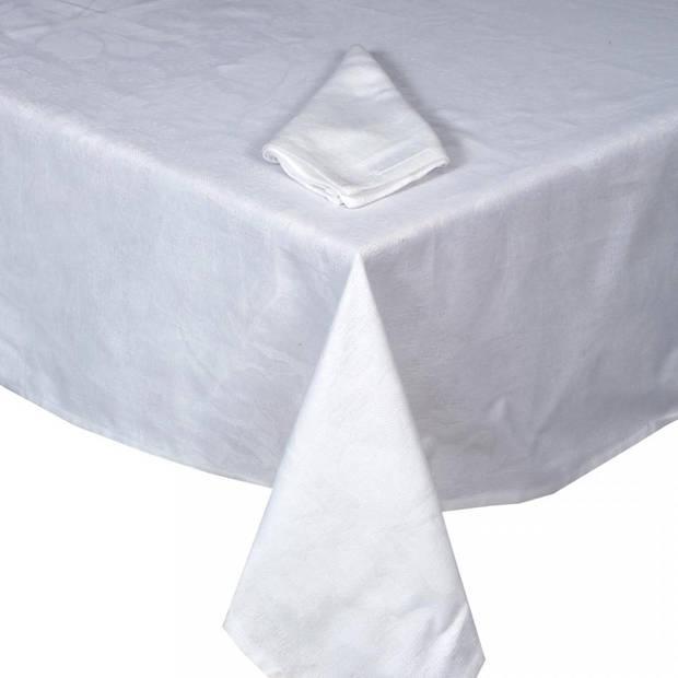 Blokker Damast tafelkleed - 250 x 140 cm - wit