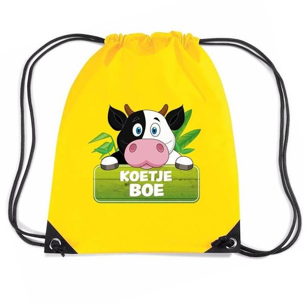 Koetje Boe koeien rugtas / gymtas - geel - 11 liter - voor kinderen