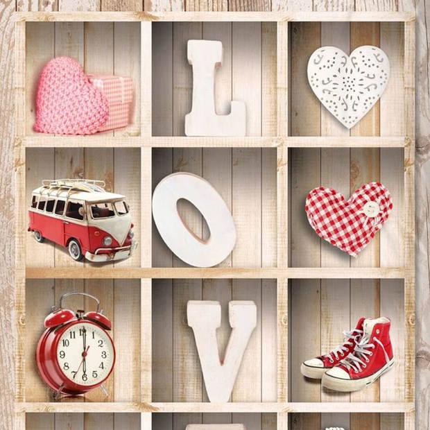 Snoozing Love flanel dekbedovertrek - Flanel / Katoen - Peuter (120x150 cm + 1 sloop) - Multi