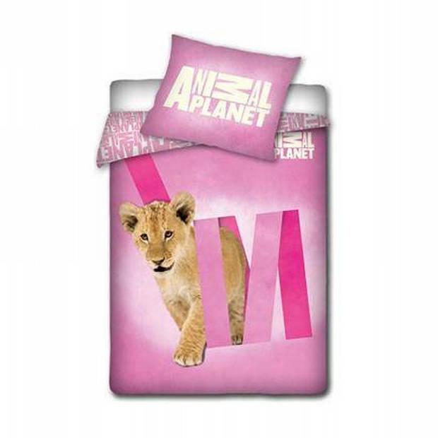 Animal Planet dekbedovertrek - 100% katoen - 1-persoons (140x200 cm + 1 sloop) - 1 stuk (60x70 cm) - Roze