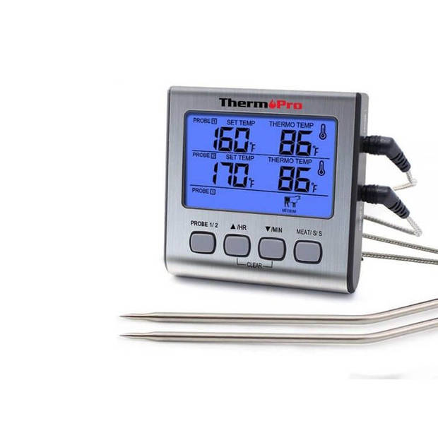ThermoPro TP17 - Dubbele Vleesthermometer - 1 Meter