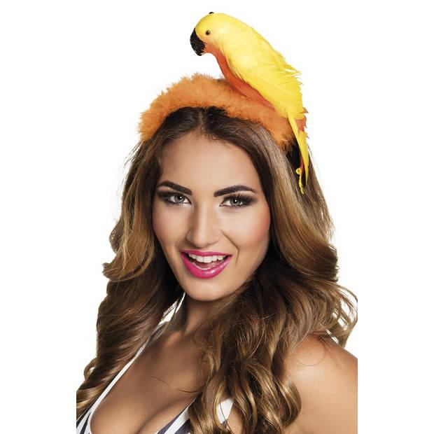 Boland tiara Papegaai dames oranje one size
