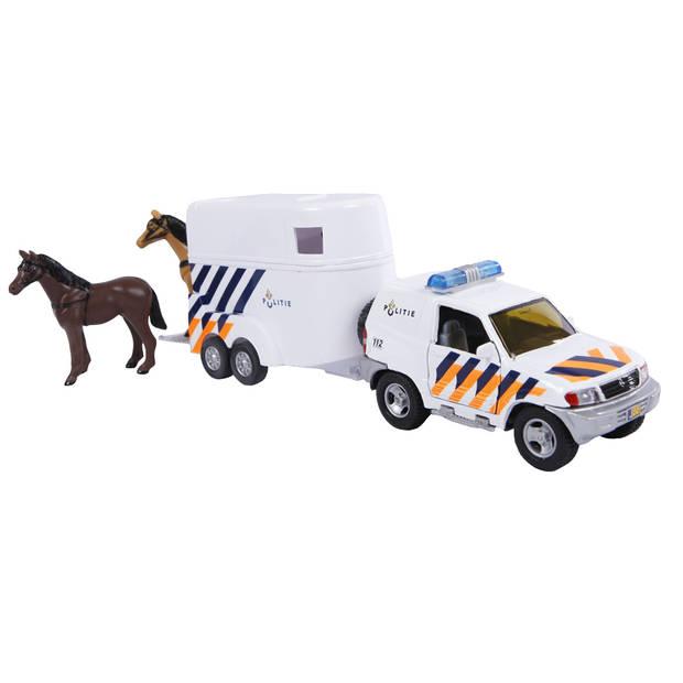 2-Play politie met paardentrailer diecast pull-back 25 cm wit