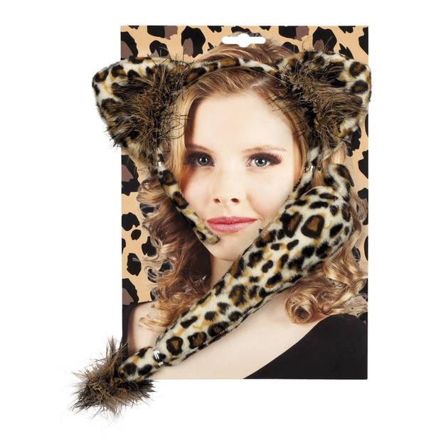 Boland accessoiresset Luipaard dames bruin one size