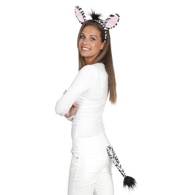 Boland accessoiresset Zebra dames wit/zwart one size