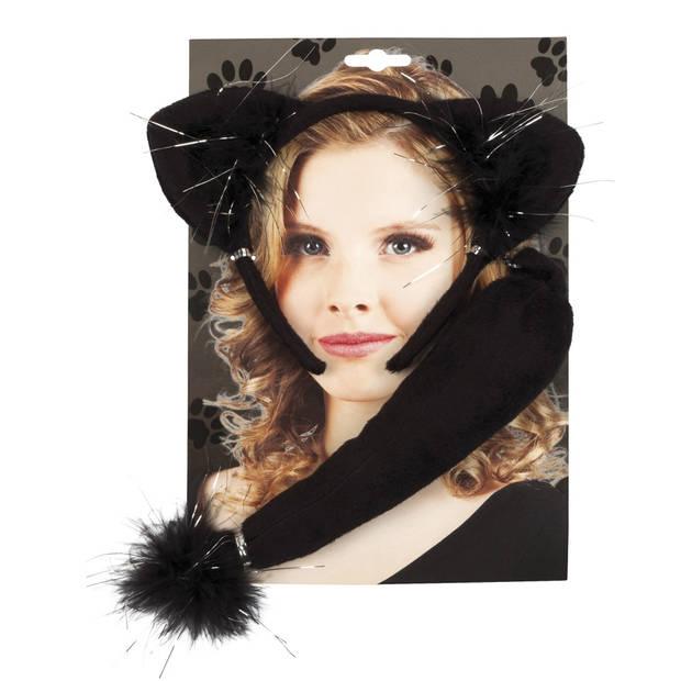 Boland tiara en staart Kat dames zwart one size