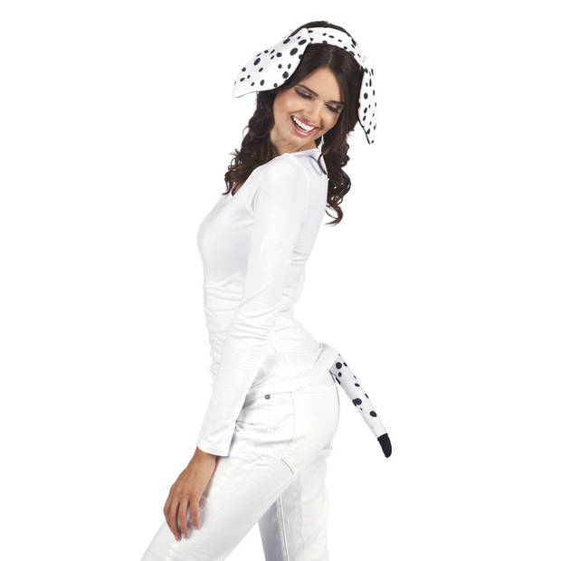 Boland tiara en staart Dalmatiër dames wit one size