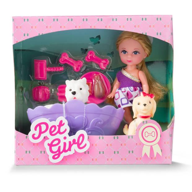 Blokker meisje met huisdieren