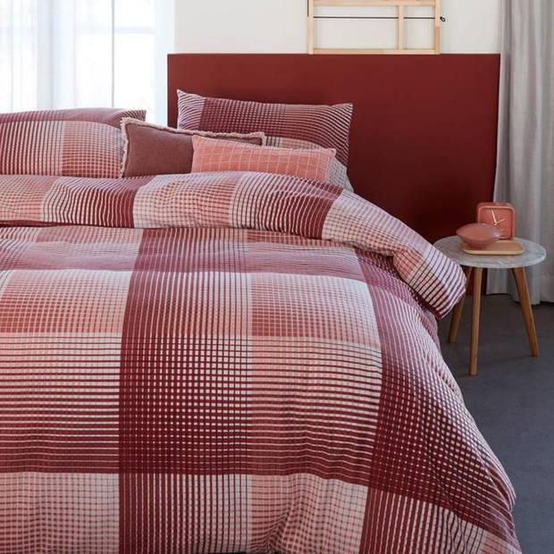 Beddinghouse Graham flanel dekbedovertrek - Lits-jumeaux (240x200/220 cm + 2 slopen) - Flanel - Coral