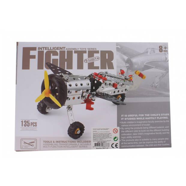 Jonotoys bouwpakket intelligent fighter 135-stuks zilver
