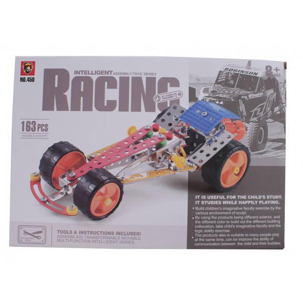 Jonotoys bouwpakket intelligent racing 163-stuks zilver