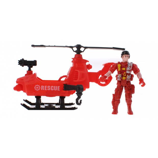 Jonotoys speelset rescue team 8 rood 24 cm