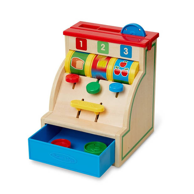 Melissa & Doug houten kassa 8-delig multicolor