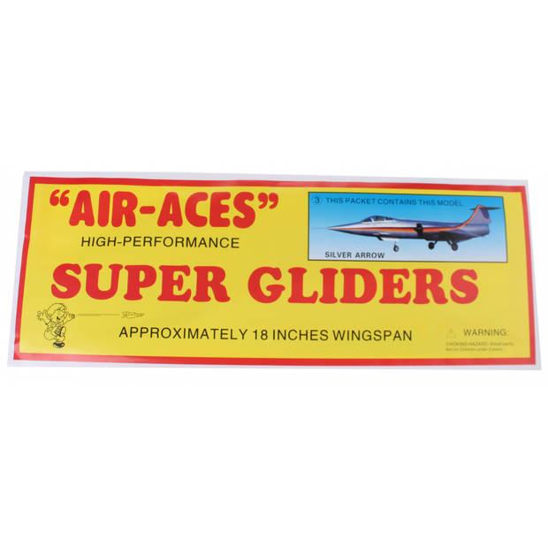 Jonotoys vliegtuig foam air-aces super silverarrow 45 cm zilver
