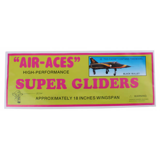 Jonotoys vliegtuig foam air-aces super blackbullet 45 cm zwart