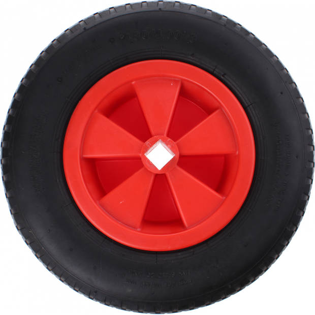 TOM skelterwiel met vierkant gat 400 x 80 mm zwart/rood