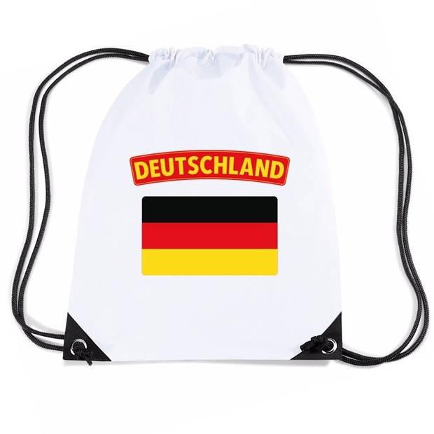 Duitsland nylon rijgkoord rugzak/ sporttas wit met Duitse vlag