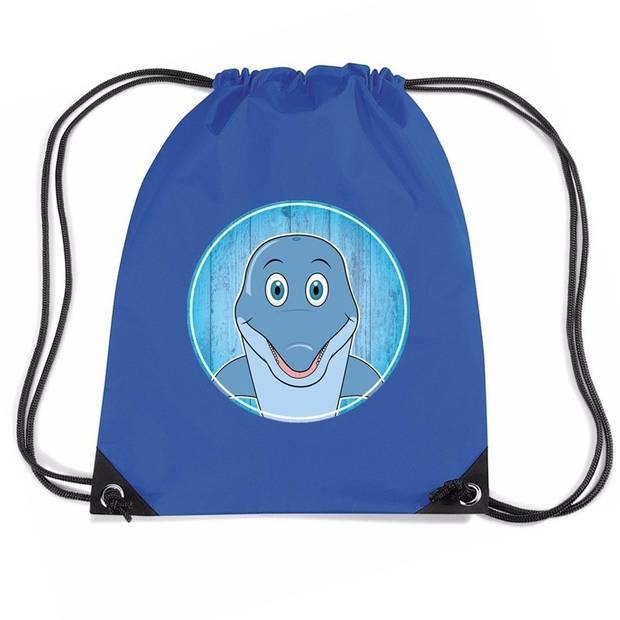 Dolfijnen rijgkoord rugtas / gymtas - blauw - 11 liter - voor kinderen