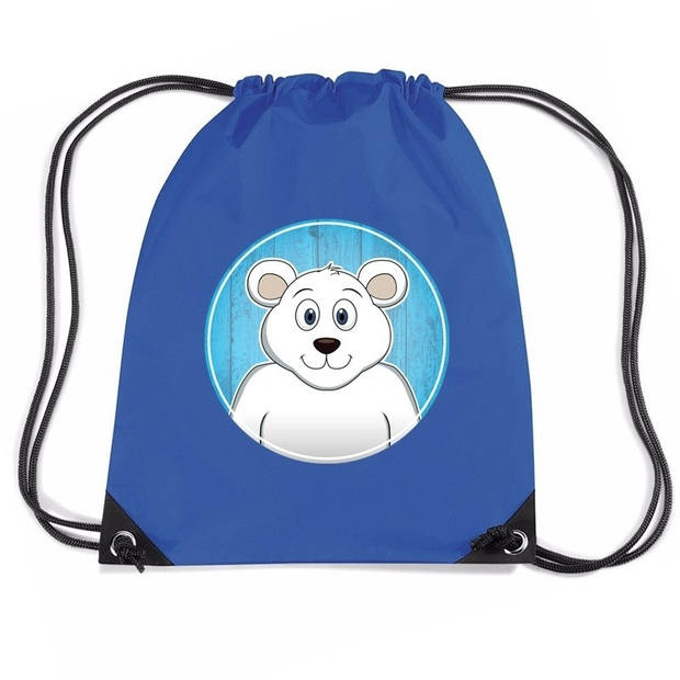 IJsberen rijgkoord rugtas / gymtas - blauw - 11 liter - voor kinderen