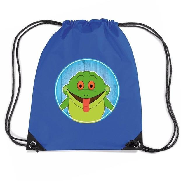 Kikkers rijgkoord rugtas / gymtas - blauw - 11 liter - voor kinderen