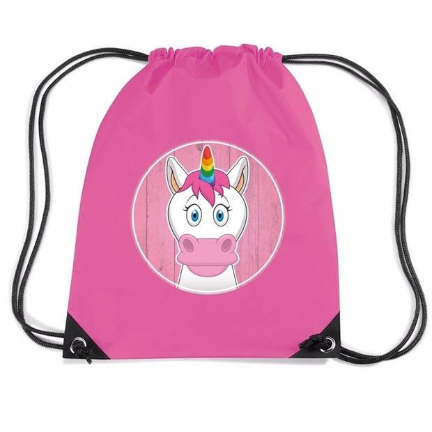 Eenhoorns rijgkoord rugtas / gymtas - roze - 11 liter - voor kinderen