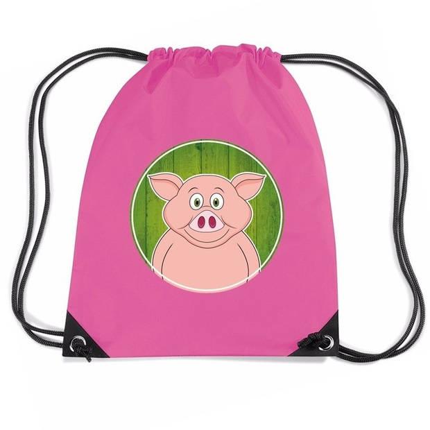 Varkens rijgkoord rugtas / gymtas - roze - 11 liter - voor kinderen