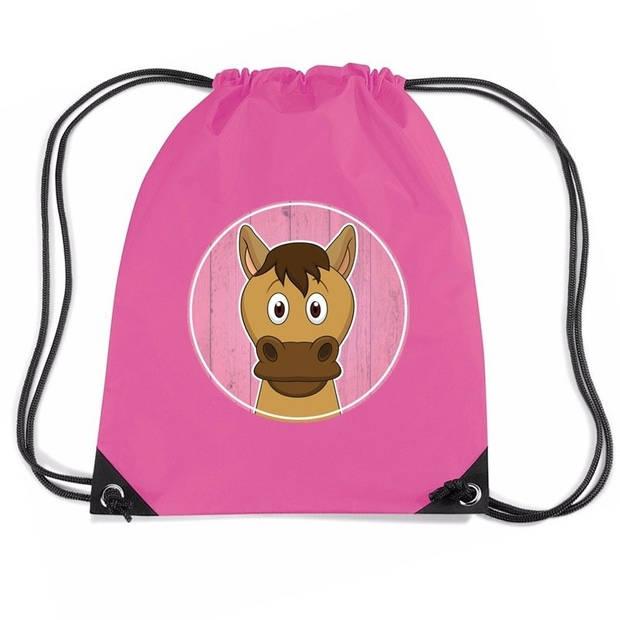 Paarden rijgkoord rugtas / gymtas - roze - 11 liter - voor kinderen