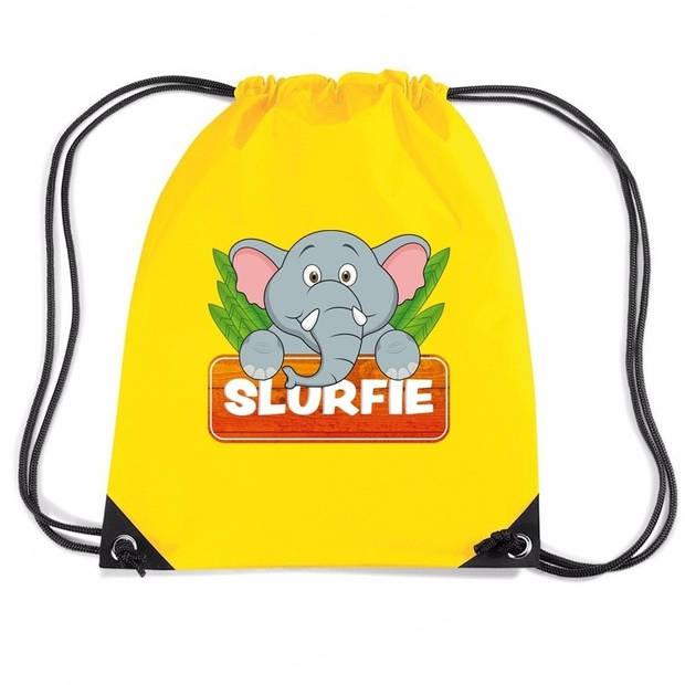 Slurfie de Olifant rijgkoord rugtas / gymtas - geel - 11 liter - voor kinderen