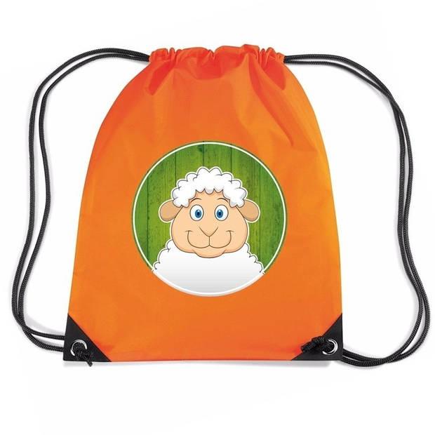 Schapen rijgkoord rugtas / gymtas - oranje - 11 liter - voor kinderen