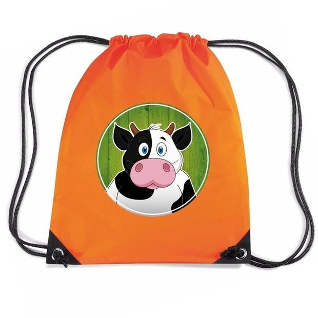 Koeien rijgkoord rugtas / gymtas - oranje - 11 liter - voor kinderen