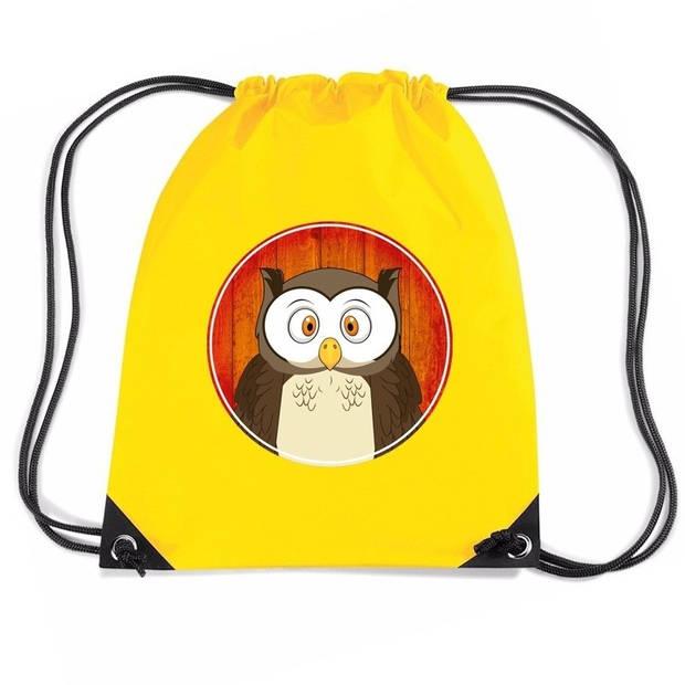 Uilen rijgkoord rugtas / gymtas - geel - 11 liter - voor kinderen