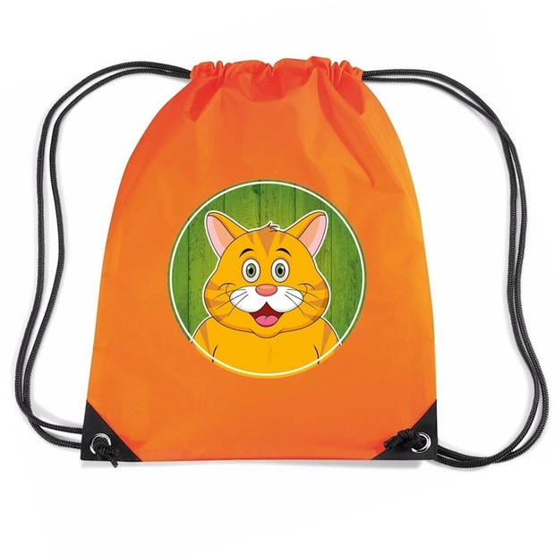 Rode kat / poes rijgkoord rugtas / gymtas - oranje - 11 liter - voor kinderen