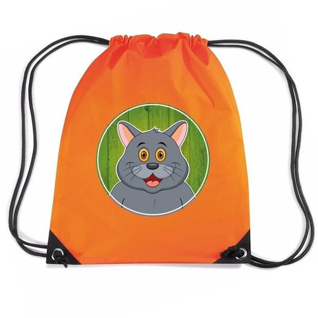 Grijze kat / poes rijgkoord rugtas / gymtas - oranje - 11 liter - voor kinderen