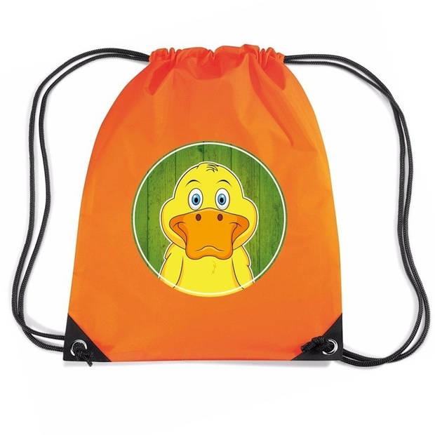 Eenden rijgkoord rugtas / gymtas - oranje - 11 liter - voor kinderen
