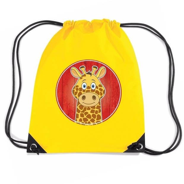 Giraffe rijgkoord rugtas / gymtas - geel - 11 liter - voor kinderen
