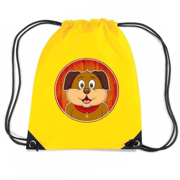 Honden rijgkoord rugtas / gymtas - geel - 11 liter - voor kinderen