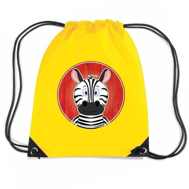 Zebra rijgkoord rugtas / gymtas - geel - 11 liter - voor kinderen