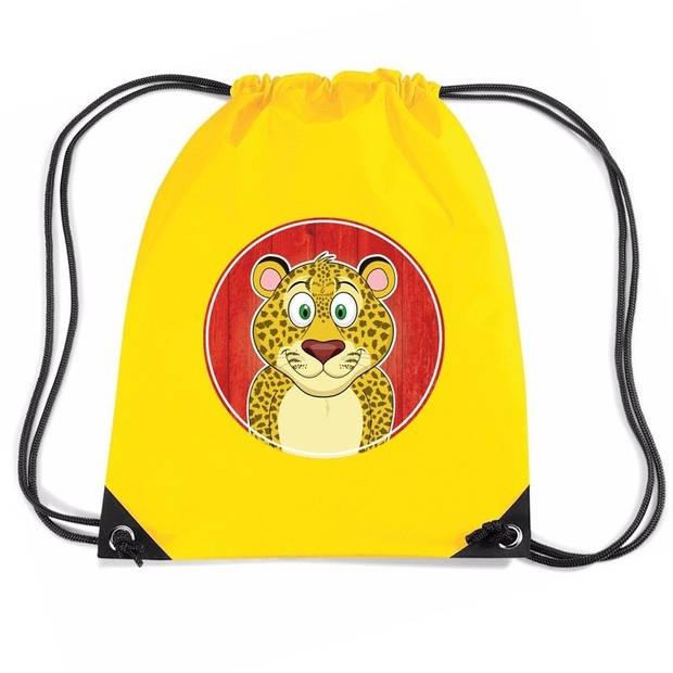 Luipaarden rijgkoord rugtas / gymtas - geel - 11 liter - voor kinderen
