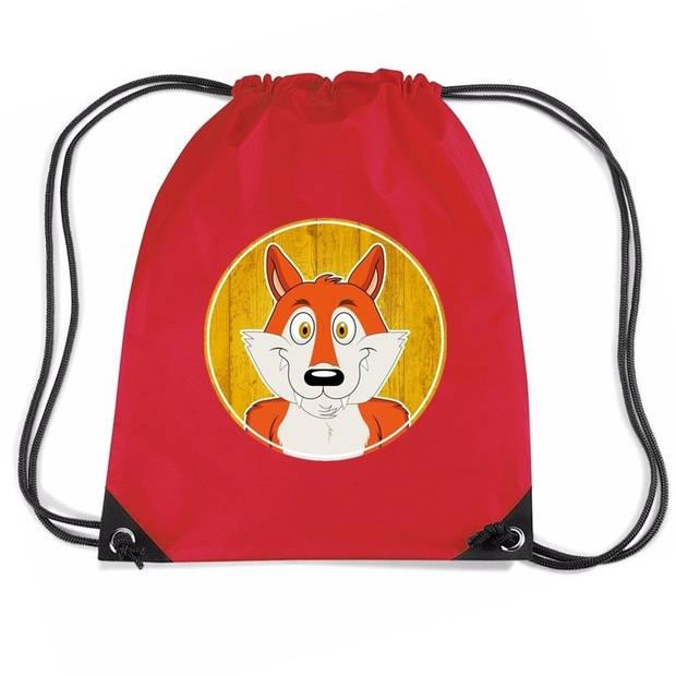 Vossen rijgkoord rugtas / gymtas - rood - 11 liter - voor kinderen