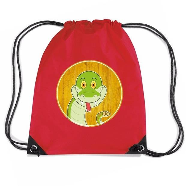 Slangen rijgkoord rugtas / gymtas - rood - 11 liter - voor kinderen