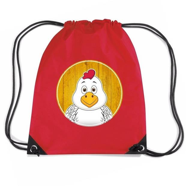 Kippen rijgkoord rugtas / gymtas - rood - 11 liter - voor kinderen