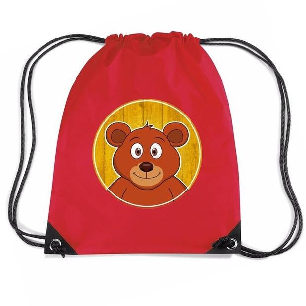 Beren rijgkoord rugtas / gymtas - rood - 11 liter - voor kinderen