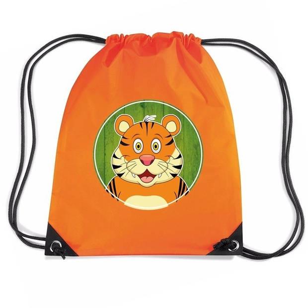 Tijgers rijgkoord rugtas / gymtas - oranje - 11 liter - voor kinderen